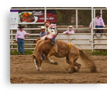 Rodeo - A Redheaded Cowboy Hangs on Waiting for the Buzzer Canvas Print