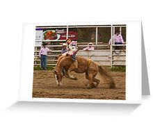 Rodeo - A Redheaded Cowboy Hangs on Waiting for the Buzzer Greeting Card