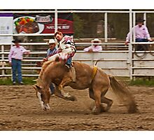 Rodeo - A Redheaded Cowboy Hangs on Waiting for the Buzzer Photographic Print