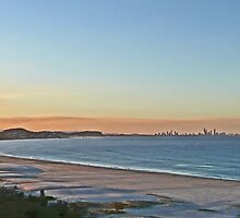 Sunset on Bilinga Beach and Surfers Paradise, Qld, Australia by Margaret  Hyde