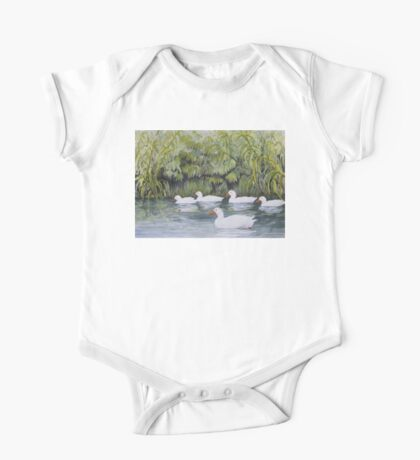 Duckies Day Out Watercolour Painting  One Piece - Short Sleeve