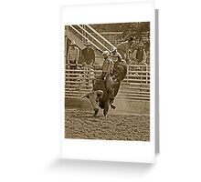 A Rodeo Cowboy Riding His Bull Greeting Card