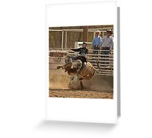Contortionist Bull Trying to Throw Its Rider Greeting Card