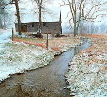 BARN,WINTER (Passed into time, this photo holds the memory) by Chuck Wickham