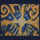 Exploding TARDIS-shaped object by lexxymomma