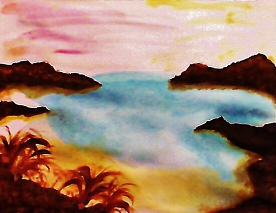 Looking Out from the Coves, watercolor by Anna  Lewis, blind artist