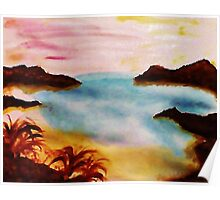 Looking Out from the Coves, watercolor Poster
