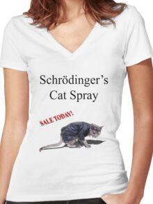 Schrodinger's Cat Spray Women's Fitted V-Neck T-Shirt