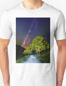 Trees in the alps under the Milky Way T-Shirt