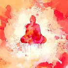 Red Buddha Watercolor art by Thubakabra