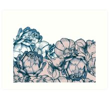 In my garden of pink and blue Art Print