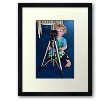 Tripod set up, right, now please let me have your camera! Framed Print