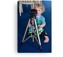 Tripod set up, right, now please let me have your camera! Canvas Print