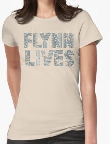 Flynn Lives Distressed Dark Blue Womens Fitted T-Shirt