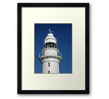 White Crown On Blue - Low Head Lighthouse Framed Print