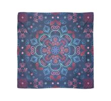 Cherry Red & Navy Blue Watercolor Floral Pattern Scarf