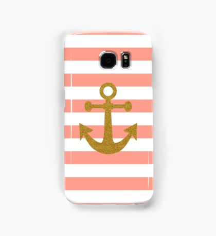 Trendy gold faux glitter anchor coral stripes Samsung Galaxy Case/Skin