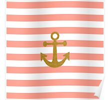Trendy gold faux glitter anchor coral stripes Poster