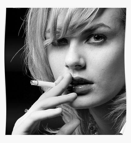 Portrait of Blonde woman smoking Poster