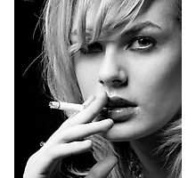 Portrait of Blonde woman smoking Photographic Print