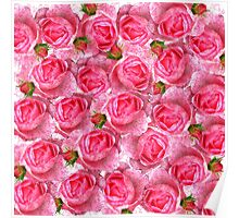Chic girly pink vintage roses floral pattern  Poster