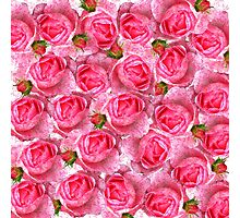 Chic girly pink vintage roses floral pattern  Photographic Print