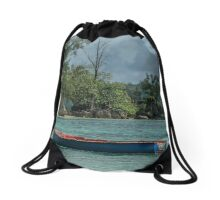 Seychelles Simple Rowing Boat Exotic Location Drawstring Bag