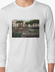 Oh So Rome - Cats, Umbrella Pines and Ancient Ruins Long Sleeve T-Shirt