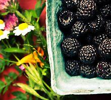Ripe black raspberries and summer flowers by xtalline