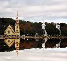 Churches of Mahone Bay by Harv Churchill