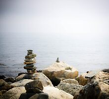 Stacked rocks- Odiorne Point, New Hampshire by xtalline