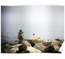 Stacked rocks- Odiorne Point, New Hampshire Poster