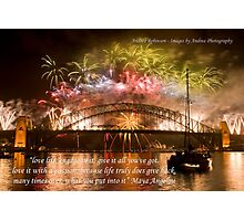 Engage - Fireworks on the Sydney Harbour Bridge with Quote Photographic Print