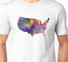 USA map in watercolor  Unisex T-Shirt
