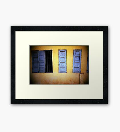 yellow/blue, phnom penh, cambodia Framed Print
