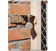 Detail of the gate of the metal mesh that are closed to the padlock iPad Case/Skin