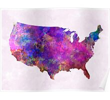 USA map in watercolor  Poster