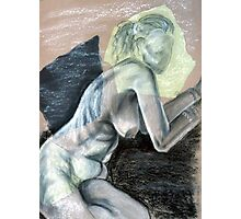Woman Leaning - chalk drawing Photographic Print
