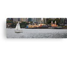 Don't laugh, I am sailing-Sydney harbour with fun fair  Canvas Print