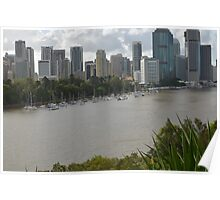 Yachts in front of Brisbane's Botanic Gardens Poster