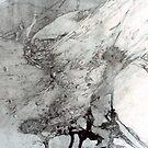 River Wild ll - graphite chalk illustration by Victoria limerick