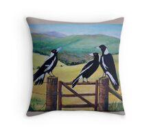Magpies Meeting Throw Pillow