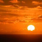 Sunset over ocean off coast of Spain by Steve