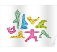 Rainbow Yoga Pattern Poster