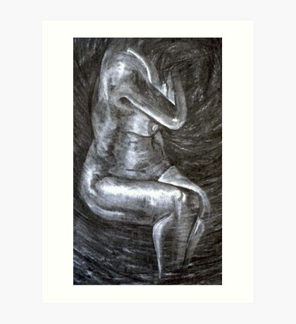 Nude - charcoal on paper Art Print
