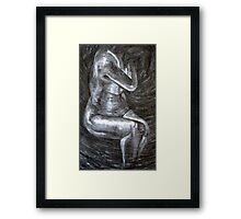 Nude - charcoal on paper Framed Print