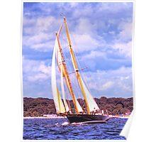 Sailing Along The Coast Poster