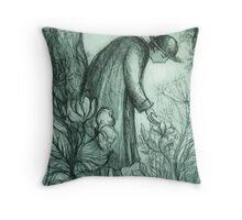 Tending the Flowers Throw Pillow