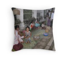 Giving alms Throw Pillow