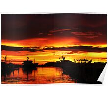 Amazing Sunset at the Harbor  Poster
